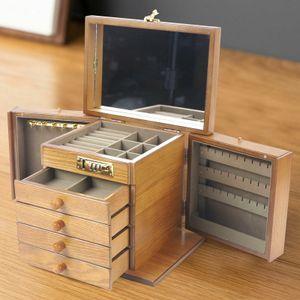 Große Holz Schmuckkästchen 5-Tier Aufbewahrungsbox Schmuckkasten Geschenkbox Aufbewahrungsorganisator