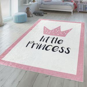 Kinderzimmer Teppich Waschbar Mädchen Design Krone Mit Spruch Pastell Rosa Weiß, Größe:80x150 cm