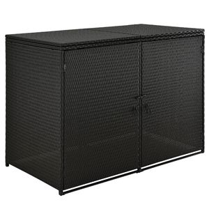 Juskys Mülltonnenbox Mol – Poly-rattan Aufbewahrungsbox für 2 Tonnen mit Gasdruckfeder - verschließbar - 1,2 m² Mülltonnenverkleidung - schwarz