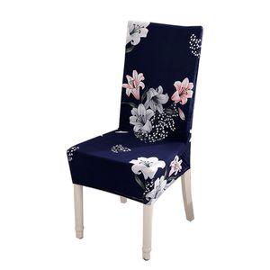 Gedruckter Stuhlbezug aus weicher Milchseide, Sitzpolster-Stretch-Anti-Staub【Blau】