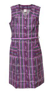 Damenkittel Baumwolle ohne Arm Kittel Schürze Knopfkittel bunt Hauskleid, Größe:52, Design:Design 4