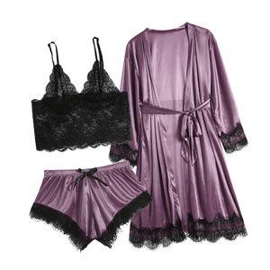 Frauen y Spitze Dessous Nachtwäsche Unterwäsche Nachtwäsche Kleid 3PC Anzüge Größe:XXXL,Farbe:Lila