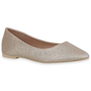 Mytrendshoe Damen Klassische Ballerinas Glitzer Slipper Elegante Slip Ons 833258, Farbe: Gold, Größe: 39
