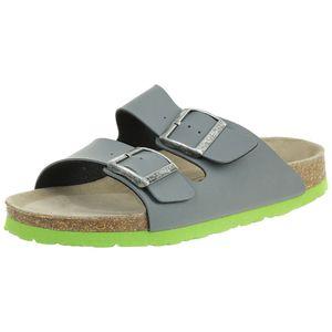 Fischer Markenschuh Kinder BIO-Pantolette Unisex Hausschuh Sandale 0530 Grau, Schuhgröße:29 EU