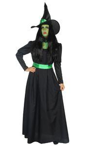 Grüne Hexe - Hexenkostüm lang mit Hut für Damen, Größe:XXXL