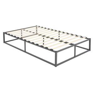 ML-Design Metallbett 120x200 cm auf Stahlrahmen mit Lattenrost, Anthrazit, Metall Bettgestell, robust, leichte Montage, Bett für Schlafzimmer der Kinder, Jugendliche, Erwachsene, Jugendbett Gästebett