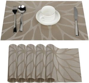 6er 30 x 45 cm Platzdeckchen Platzsets Abwaschbar, Anti-Rutsch Tischsets für den Esstisch