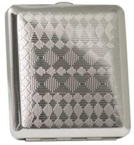 Zigarettenetui Zigaretten Case Metall chrome Karomuster 18er mit Gummiband NEU