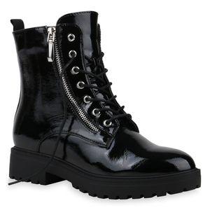 Mytrendshoe Damen Stiefeletten Schnürer Zipper Schnürstiefeletten Schuhe 835491, Farbe: Schwarz, Größe: 39