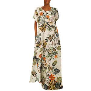 Frauen Rundhalsausschnitt Halbarm Blumendruck Roben Stil Kaftan Loose Long Dress Größe:M,Farbe:Gelb