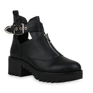 Mytrendshoe Damen Stiefeletten Ankle Boots Cut Out Plateau Booties Schnalle 832452, Farbe: Schwarz, Größe: 40