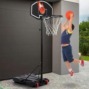 Bathrins Kinder Basketballkorb mit zwei Raedern Abnehmbarer Basketballstaender Basketballkorb Hoehenverstellbar Basketballanlage Standfuss-OV 73*53*246cm-OV