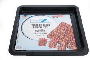 Backblech ausziehbar 33-52cm, beschichtet Backofenblech antihaft, Schwarz