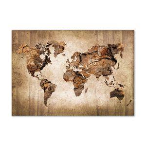 Tulup® Leinwandbild - 100x70 cm - Wandkunst - Drucke auf Leinwand - Leinwanddruck  - Landkarten & Flaggen - Braun - Weltkarte Holz