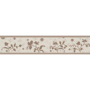 A.S. Création selbstklebende Bordüre Only Borders mit Blumen floral braun beige 5,00 m x 0,13 m