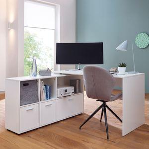 WOHNLING Schreibtischkombination 136 x 75,5 x 155,5 cm Weiß | Schreibtisch mit Sideboard | Winkelschreibtisch Home Office | Tisch Büro Modern