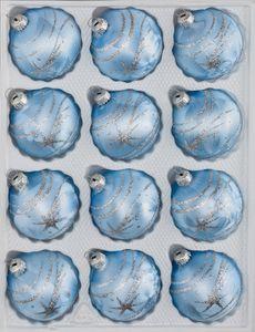 12 tlg. Glas-Weihnachtskugeln Set in Ice Blau Silber Komet