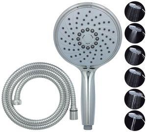 Handbrause mit Schlauch 150cm in Chrom XXL Duschkopf 6 Funktionen wassersparend Shower Head