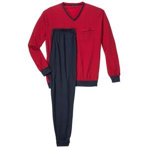 Götzburg Pyjama mit V-Ausschnitt rot-dunkelblau gemustert Übergröße, deutsche Größe:80