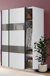 Wimex Schwebetürenschrank Kleiderschrank Schrank Altona weiß Grauglas 135cm