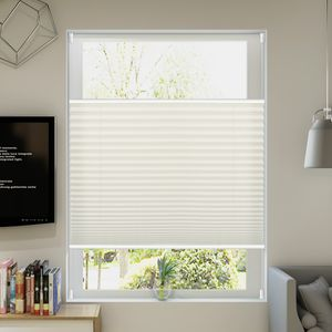 Allesin Plissee Klemmfix Plisseerollo ohne Bohren (80x120cm Beige) Faltrollo Jalousie Sonnenschutz und Sichtschutz für Fenster & Tür
