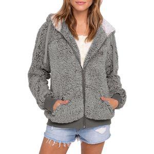 Frauen Plus Size Casual Pocket Kapuze Parka Outwear Cardigan Sweater Coat Größe:XL,Farbe:Grau