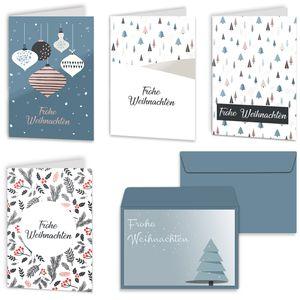 Urdays Weihnachtskarten 20er Set mit Umschlägen – Klappkarten für Weihnachtsgrüße 20 Stück – Frohe Weihnachten Retro Design