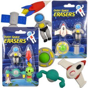 Radiergummi Space Weltraum Radierer Kinder Set 4-tlg Galaxy Schule Mitgebsel