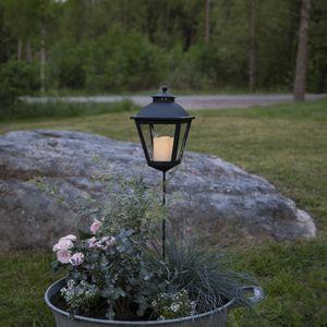 LED Grablaterne/Grablicht 'Serene' mit Stab - warmweiße LED - H: 85cm, D: 15,5cm - Timer - schwarz