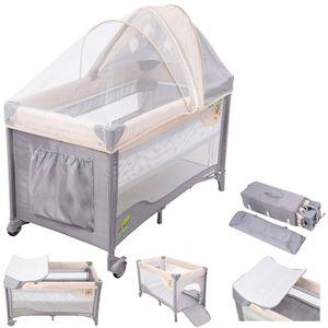 Baby Reisebett und Laufstall 2in1 mit Wickelauflage und Seitenausgang ab Geburt bis 15 kg - faltbar in Rosa-Grau