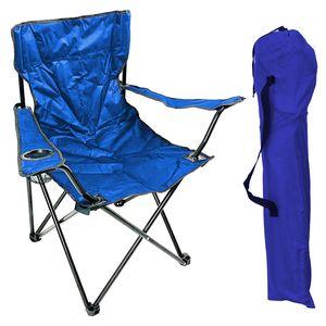 Anglersessel mit Getränkehalter und Tasche Blau