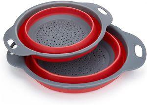 Faltbarer Seiher, Diealles 2 Stück Faltbare Abtropfsieb Silikon Faltbarer Nudelsieb Faltbar Silikon Filter Gemüse Frucht Korb Für Küchenzubehör Set (Rot)