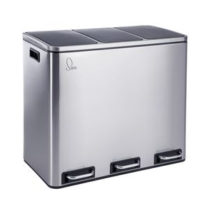 SVITA TM3X18 Treteimer 54 Liter 3x 18L Abfalleimer Mülleimer Mülltrennung Edelstahl Silber