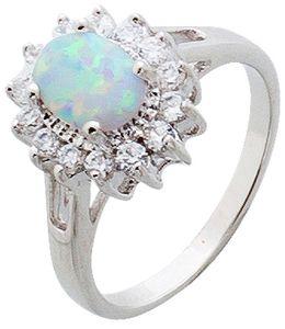 Opal Ring weiss blau Silber 925 lady di style Zirkonia  16