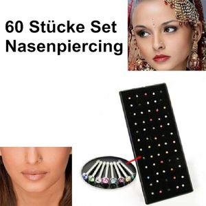 Miixia 60 Stücke Set Nasenpiercing Zirkonia Kristall Piercing Nasen Stecker Schön Schmuck