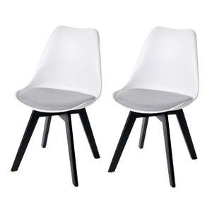 2x Esszimmerstuhl HWC-E53, Stuhl Küchenstuhl, Retro Design  weiß/grau, Stoff, schwarze Beine
