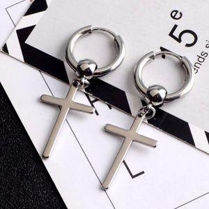 1 Paar Ohrringe Modische Kreuz-Schleife Ring Ohrstecker baumeln Ohrringe Ohrschmuck Ohrhaken