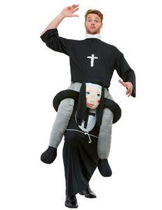 Nonne-Huckepack-Kostüm Faschingskostüm schwarz-grau