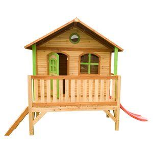 AXI Spielhaus Stef mit roter Rutsche | Stelzenhaus in Braun & Grün ausHolz für Kinder | Spielturm für den Garten