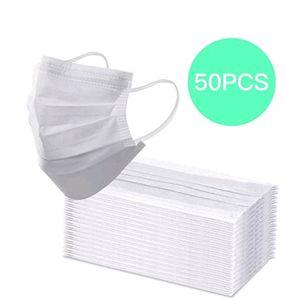 50 Stück Einweg OP-Maske Mundschutz Staubschutz Infektionsschutz Schutzmaske Atemschutzmaske-Weiß