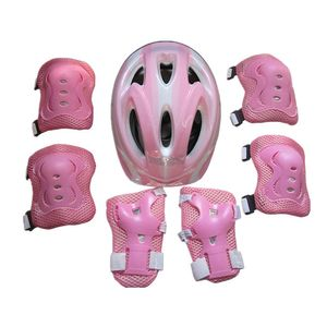 Kinder Kinder Rollschuhe Fahrrad Schutzhelm Knie Ellbogen Handgelenk Schutz Pad Set Rosa