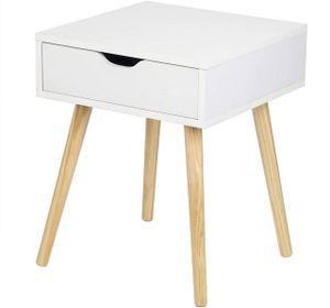 WOLTU Nachtkommode Nachttisch mit Schublade minimalistisches Design weiß