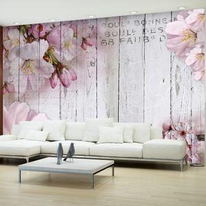 Vlies Tapete ! Top ! Fototapete ! Wandbilder XXL ! 350x256 cm – HOLZ BRETTER BLUMEN b-A-0202-a-b