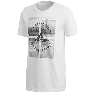 adidas Herren Baumwoll T-Shirt Tee, Größe:L, Farbe:Weiss