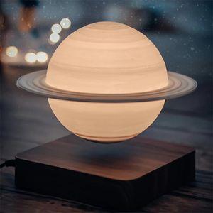 Levitation Mond Lampe,Kreative 3D Magnetische Levitation Mond Lampe Saturn Nacht Licht  Hause Dekoration