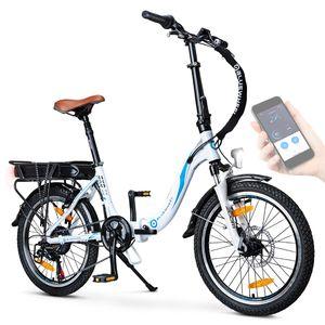 "BLUEWHEEL 20"" klappbares E-Bike I Deutsche Qualitätsmarke I Shimano 7 Gang-Schaltung I EU-konform Klapprad mit App + 250 W Motor + Batterie abnehmbar | Electric Bike 25 km/h bis zu 150 km  | BXB55 Weiß 10 Ah Batterie"