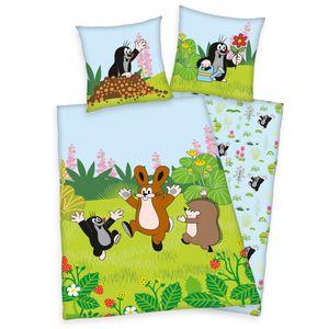 Kinder Bettwäsche Set Der Kleine Maulwurf 135x200 80x80cm 100% Baumwolle Linon