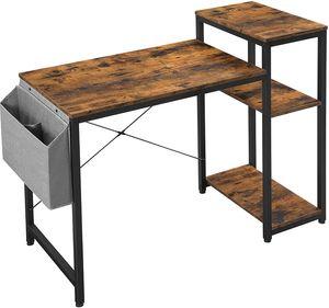 VASAGLE Schreibtisch, 110 x 50 x 90 cm, Computertisch mit Regal, verstellbare Ablage, mit Seitentasche, Industrie-Design, vintagebraun-schwarz LWD087B01