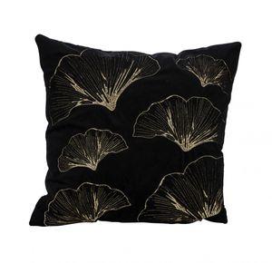 Premium Kuschelkissen Samtkissen Blatt Designe mit Füllung, Farbe: schwarz 45x45cm