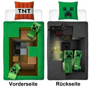 Bettwäsche Set Minecraft  80 x 80 cm 135 x 200cm 100% Baumwolle Biber  BASE